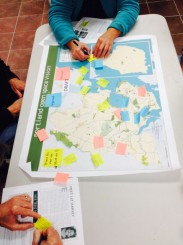 Community meetings map out 'desire lines'–or place where the public wants future trails, sidewalks, paths etc.